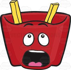 Red Pack Of French Fries – Missing Fries Surprise! Surprised Emoji, Burger Cartoon, Vector Illustrations, French Fries, Emoticon, Lunch Box, Packing, Red, Recipes