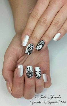 by Monika Szurmiej, Follow us on Pinterest. Find more inspiration at www.indigo-nails.com #nailart #nails #polish #black #white