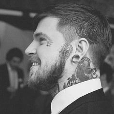 man with cool face tattoos, man with tattoos in a suit Cool Face Tattoos, Body Art Tattoos, Tattoos For Guys, Neck Tattoos, Sweet Tattoos, Tattoo Ink, Tatoos, Beard Tattoo, Tatto Man