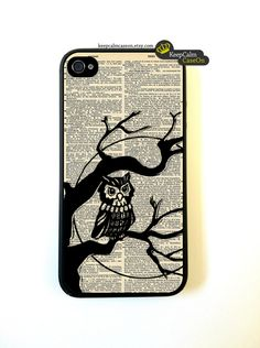 Owl iPhone Case, New Hard Fitted Case For iphone 4 & iphone 4S, Dictionary Art iphone Case. $15.00, via Etsy.