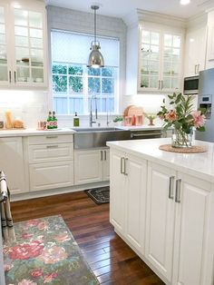 Ikea white modern farmhouse, kitchen. Has the name of the quartz countertops.