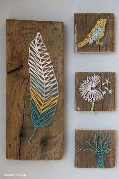 Pretty string art with a nature theme, and a blue, yellow and white color palette. DIY: Nagel und Faden Bild