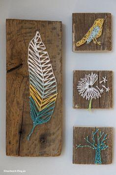 DIY: Nail and thread block art - leaf, bird, dandelion + tree