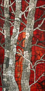 birch tree mosaic - love the shades of taupe with the red