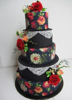 black wedding cake | Five tier black round wedding cake with red roses