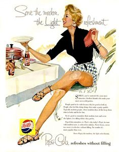 Vintage Ad for Pepsi showcasing some fun Fashions. During the pin-up era of the and Pepsi communicated using these beautifully illustrated print ads with slogans such as 'The Sociables Prefer Pepsi'
