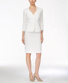 Le Suit Three-Button Jacquard Skirt Suit - Suits & Suit Separates - Women - Macy's