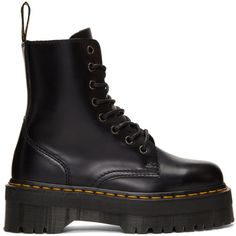 Dr. Martens Black Jadon Boots (€155) ❤ liked on Polyvore featuring shoes, boots, black, zip boots, black zip boots, zip shoes, platform boots and rounded toe boots
