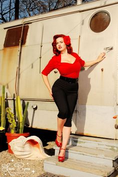 Doris Top in Red from Pinup Couture - This retro top with wide collar and half sleeves is the perfect companion to any vintage-style skirt, capri pants, or jeans.  It is made of a stretch poplin with a zipper down the back to be form-fitting and body-conscious, it is a must-have separate!