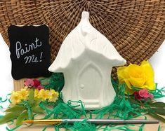 Ladybug Mushroom Fairy House Ceramic Bisque Ready to Paint | Etsy Acorn Necklace, Mushroom House, Ceramic Bisque, Pottery Painting, Diy Photo, Kids House, Ladybug, Stuffed Mushrooms, Fairy