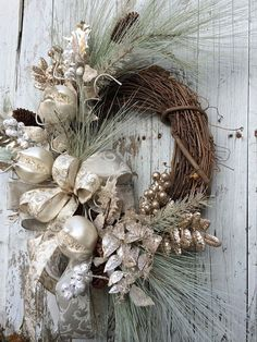 Victorian Christmas Wreath, Silver and Gold Christmas Wreath, Elegant Christmas… Silver Christmas Decorations, Christmas Door Wreaths, Christmas Swags, Elegant Christmas, Noel Christmas, Victorian Christmas, Christmas Centerpieces, Holiday Wreaths, Christmas Crafts