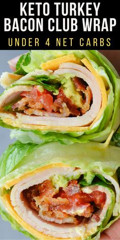 This quick and easy Keto Turkey Club Wrap is loaded with deli turkey salty bacon crisp lettuce and tender avocado The perfect low carb lunch recipe under 4 net carbs keto lettucewrap Easy Dinner Recipes, Healthy Dinner Recipes, Low Carb Recipes, Diet Recipes, Easy Meals, Healthy Food, Easy Recipes, Healthy Recipes Blog, Health Recipes