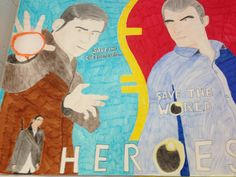 Poster on bristol board of Peter and Sylar from Heroes graphic novel and television series.
