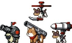 From Mercenary Kings. Early concepts for a fleet of dog enemies, working for CLAW. They did not make it into the game, even if they were dangerously adorable!: