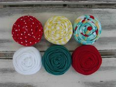 Carnival fabric rosettes by sugarsugarhigh on Etsy, $9.00