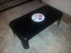 Steelers coffee table for the mancave $10 table $7 can of paint $6 sticker from ebay