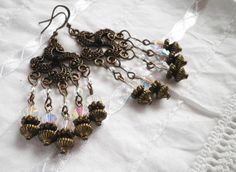 Shiny Crystals Bronze Earrings. by juta230 on Etsy, $15.00