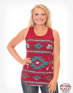 08713a1b91e5f3 This deep red Cowgirl Tuff Company racer back tank top is printed in white  and turquoise
