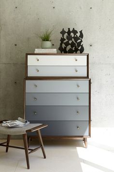 Mid-century modern chest with a gradient front drawer color scheme. The Silver Lake Chest has a beautiful walnut finish encasing the six drawers and features minimalist brass knob hardware. Ikea Furniture, Upcycled Furniture, Furniture Makeover, Painted Furniture, Modern Furniture, Furniture Design, Office Furniture, Bedroom Furniture, Furniture Ideas