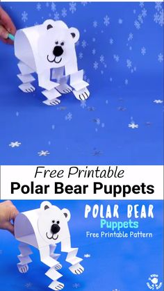 How adorable is this Polar Bear Puppet Craft? Paper crafts don't get much easier than this! This polar bear craft is made from just one sheet of paper! Print the template, cut, stick and play! Template comes in 2 sizes to make a polar bear family! What a fun Winter craft for kids!  (Please note post and template updated 7/7/20. There is a small charge. Thank you for your support.)  #kidscraftroom #kidscrafts #polarbears #polarbearcrafts #wintercrafts #puppets