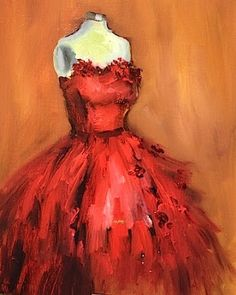 Wild Thing- A Little Dress to Wear Around the Kitchen - Lipstick and Oil on Canvas, by Texas Artist Nancy Medina, painting by artist Nancy Medina