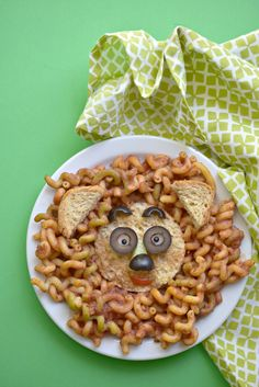 Lion Pasta Faces made with Ancient Harvest Veggie Curls