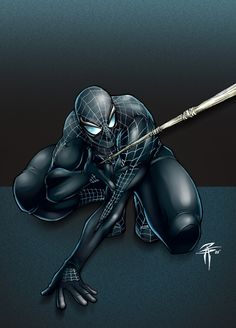 Black suited Spidey crouches before weaving his web Marvel Comics, Dc Comics Superheroes, Marvel Art, Marvel Heroes, Marvel Characters, Spiderman Poster, Spiderman Tattoo, Spiderman Art, Amazing Spiderman