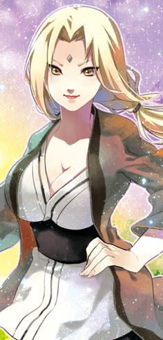 Tsunade Senju the Fifth Hokage, granddaughter of Hashirama and Mito, grandniece of Tobirama and older sister of her younger brother and former girlfriend of Dan, student of Hiruzen pupil of her granduncle the Second Hokage Tobirama Senju, teamate of Jiraiya and Orochimaru.