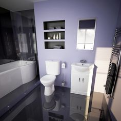 Beautiful reflective bathroom finish shows of the purple colors.