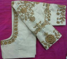 Custom fit pure raw silk blouse with zardosi embroidery Fancy Blouse Designs, Bridal Blouse Designs, Blouse Neck Designs, Zardosi Embroidery, Gold Embroidery, Embroidery Blouses, Embroidery Suits, Saree Blouse Patterns, Embroidery Designs