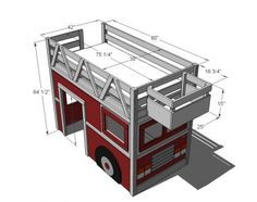 Free plans for a firetruck loft bed! Any kid would love to sleep in this!