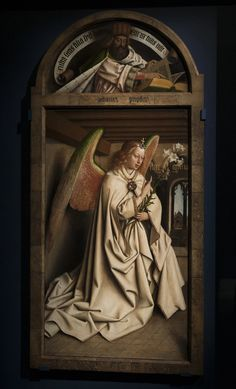 """artist-vaneyck: """"Angel Annunciate, from exterior of left panel of the Ghent Altarpiece, Jan van Eyck Medium: oil,panel"""" Chef D Oeuvre, Oeuvre D'art, Jan Van Eyck Paintings, Ghent Altarpiece, Renaissance Kunst, Religious Paintings, Medieval Art, Triptych, Ancient Art"""