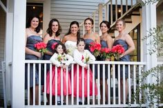 LOve the bridesmaids grey dresses with the bright pink flowers and flower girls' dresses!  www.triciamccormackphotography.com  Photography in the Berkshires, MA