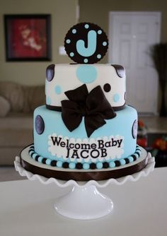 Lish - I like the Big initial on the top of the cake - it doesnt' have to be standing up either - it could just be frosting flat on the top - Baby Shower Cake
