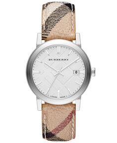 Burberry Watch, Women's Swiss Haymarket Check Fabric Strap 38mm BU9025