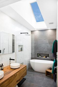 Modern Shed Roofing roofing terrace ideas.Roofing Architecture New York. Skylight Bathroom, Bathroom Windows, Bathroom Renos, Bathroom Layout, Bathroom Interior Design, Small Bathroom, Bathroom Ideas, Condo Bathroom, Bathroom With Window