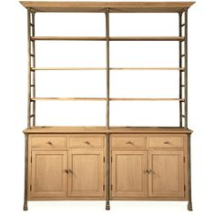 Livre French Country Iron Pine Wood Large Bookcase ($3,488) ❤ liked on Polyvore featuring home, furniture, storage & shelves, bookcases, cabinet, kitchen, pine bookcase, display bookcase, display shelving e iron shelves