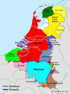 Languages/dialects of the Benelux countries European Map, European History, World History, Family History, Netherlands Map, Alternate History, Old Maps, Historical Maps, History Facts