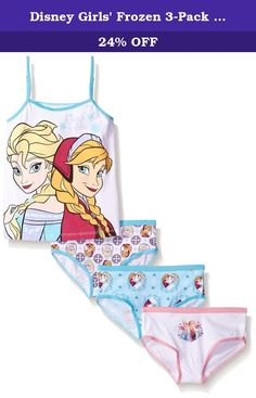 Disney Girls' Frozen 3-Pack Underwear and Tank Set, Assorted, 4. Frozen girl 4 piece set, tank, 3 panties.