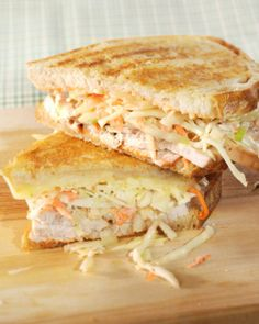 The Rachel Sandwich - toasted sourdough sandwich with roast turkey and coleslaw and cheese