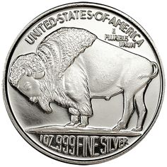 The Hunter Bison Buffalo 1 Troy Oz .999 Fine Silver Round Coin Medal Collectible
