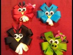How to make Angry Bird Hair Bows & Head Bands !!!