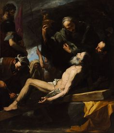 Spanish Baroque art, Jusepe de Ribera-Martyrdom of Saint Andrew from Budapest Museum of Fine Arts. We could see the use of tenebrism in this painting. St Andrews, Caravaggio, Chiaroscuro, Rembrandt, Francisco Zurbaran, Philippe De Champaigne, Shadow Painting, Google Art Project, Baroque Art
