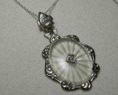 14k White Gold Camphor Glass Pendant 1930's Art by EverythingIOwn,
