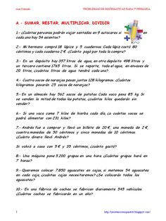 I'm reading Problemas matemáticas Primaria -Ana Galindo- on Scribd 4th Grade Math Worksheets, Math 5, Right To Education, Learning Courses, Math For Kids, 5th Grades, Literature, Teacher, Reading