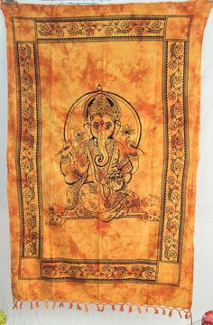 Lord Ganesha Tapestry Indian Tapestry by VishalHandicrafts on Etsy, $17.99