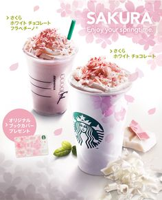 Starbucks Sakura (cherry blossom) Frappuccino and latte available in Japan