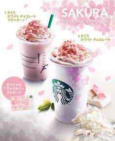 Starbucks in Japan, Sakura-flavored coffee out to the Japanese love cherry blossoms too. SAKURA Enjoy your springtime.