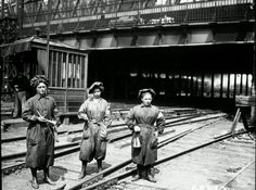 Women in France filled all sorts of men's jobs during WWI.  Female railroad workers at Gare du Nord Station, Paris in 1917.