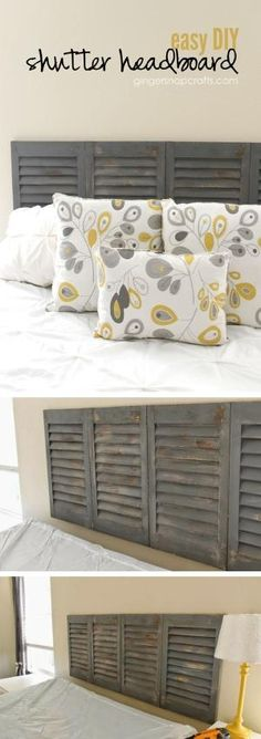 Check out how to make an easy DIY headboard from old shutters @istandarddesign by muriel